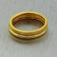 Vintage Estate .999 24k Yellow Gold Two Stackable Rings Wedding Band Ring