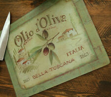 Olio d'Oliva Large 16x12 Toughened Glass Worktop Saver Protector Chopping Board