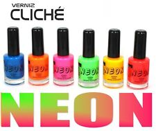 LOT OF 6 COLORS new Fluorescent Neon colors Nail Art Polish pink yellow green