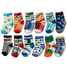 Baby Anti-slip Socks Shoes Kids Infants Toddlers Cotton 12 Pairs Non Skid Gift