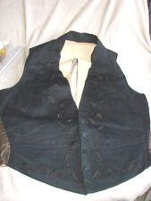 Vintage Antique Victorian VEST Waistcoat 36 Black EMBROIDERED Oak Leaf Acorn TLC