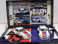 FLY TEAM 13 BRUMOS RACING SET NEW WITH PORSCHE 911 & PORSCHE 934 1/32 SLOT CARS