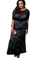 New Stunning women's Black Lace Peplum Plus Size Maxi Dress Size 16 18 20 22 24