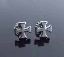 Maltese Cross SILVER Stud PAIR Ear Ring Earrings Biker Punk