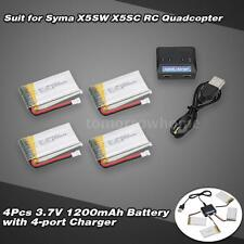 4 in 1 Charger Set +4pcs 3.7V 1200mAh Lipo Battery for Syma X5SW X5SC US P9F4