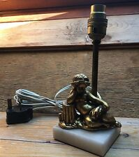 Vintage Kitsch Bronze Marble Effect Table Lamp/Cherub/Rococo/50's/60's/Gold