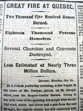 1866 display newspaper GREAT FIRE OF QUEBEC CITY Canada 2500 Houses Burn