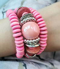 New Fashion Handmade Women Stretch Bangle Charm Pink Jade Stone Beads Bracelet