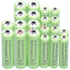 10xAA 3000mAh+10x AAA 1800mAh 1.2V NI-MH Batería recargable 2A 3A verde celular