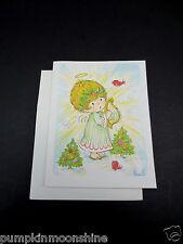 Vintage Unused Fran K. Xmas Greeting Card Sweet Angel on Cloud Playing Harp