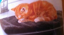 Katzen Fensterbankpolster 60x26x2 cm flauschig  Rutschsicher Beige