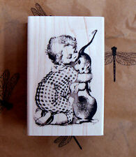 "P9 Easter bunny kisses rubber stamp NEW 2.5x2"" WM"