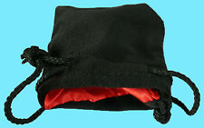 "BLACK VELVET & LUXURY SATIN RED Lining DICE BAG SMALL 3.5""x4"" Silk Pouch Koplow"