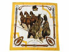 Authentic HERMES Scarf 100% Silk ATTELAGE EN ARBALETE Yellow Good 35740