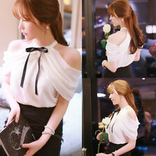 Korea Women Fashion Sexy Off Shoulder Blouse Shirt Casual Summer Chiffon Tops