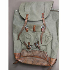 2579 Swiss Vintage 1959 Salt and Pepper Leather and Canvas Rucksack Backpack
