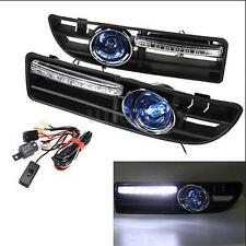 Pair Blue Fog Light 8LED Front Bumper Grille DRL Set For VW Jetta Bora Mk4 99-04
