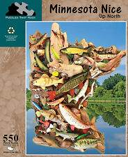 Minnesota Nice State Map 550 pc Jigsaw Puzzle Fish Fishing Lures New Sealed Box