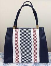TOMMY HILFIGER Basketweave Hinge Tote Bag Navy Blue White Red MSRP $118