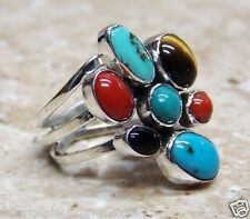 NAVAJO JEWLERY TURQUOISE MULTISTONE RING STERLING SILVER