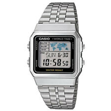 Casio Retro Vintage Style Gent's World Time Stainless Steel Watch A500WEA-1EF