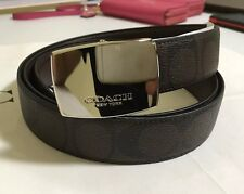 COACH MEN'S PLAQUE HERITAGE SIGNATURE CUT TO SIZE  REVERSIBLE DRESS BELT 64828