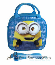 Minion Bob Shoulder Strap Baby Blue Lunch Box School Bag w/ color pencil