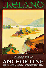 Art Ad Ireland  Anchor Line Travel  Poster Print