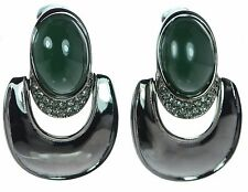 Oscar De La Renta Gunmetal Green Cabochon Clip-on Earrings