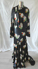 1930s Black Silk Floral Dress Gown W/ Train Bolero Chinoiserie S MOVIE COSTUME