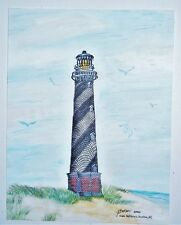 ORIGINAL 11x8.5 WATERCOLOR LIGHTHOUSE PAINTING By G.BEEKMAN~HATTERAS