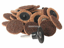 """25 Pc 2"""" Coarse Roll Lock Surface Conditioning Disc w/ Roloc Holder Made in USA"""