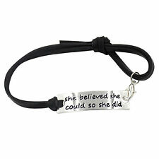 She Believed She Could So She Did Inspirational Charm Leather Bracelet Jewelry