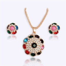 Amazing Gold colorful Rhinestone jewelry sets necklace/earrings
