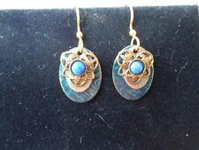 3 Layer Dangle Hook Style Pierced Earrings Flower Blue Stone Center Gold Oval &