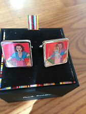 "Paul Smith VINTAGE 1980's ""NAKED LADY""  RETRO ""Crop Top"" HOLOGRAM TBAR CUFFLINKS"
