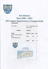 Eric Massey enterrar 1946-1957 Raro Original Corte/tarjeta firmada a mano