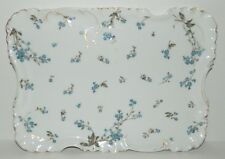 "Haviland Limoges Antique Rectangular Dresser Tray 11"" - Blue Flowers"