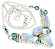 21g Rainbow Moonstone & Blue Topaz 925 Sterling Silver Necklace Jewelry SN15485