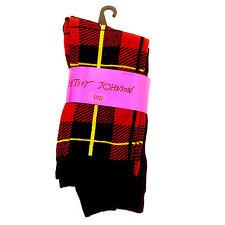 2 Pk Betsey Johnson Casual Socks, Ladies 9-11 Red Mad About Plaid & Black Rib