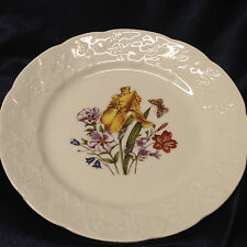 "LIERRE SAUVAGE CNP WILDFLOWERS OF FRANCE SALAD PLATE 8"" EMBOSSED GRAPES RIM D"
