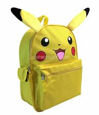 "New Pokemon Pikachu Large School Backpack 16"" Bag with Ear Plush"