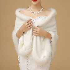 New Winter Faux Long Fur Womens Shawl Bridal Prom Party Wrap Cape Wedding Ladies
