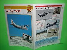 """ANTONOV AN-12 """"CUB""""  AIRCRAFT FACTS CARD AIRPLANE BOOK 18"""