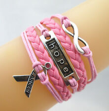 Mix Infinity/Hope/Breast Cancer Awareness Ribbon Charms Leather Braided Bracelet