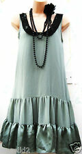 SIZE 14 20'S DECO CHARLESTON FLAPPER VINTAGE STYLE TIERED DRESS ~ US 10 EU 42