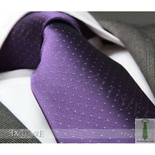 NEW ITALIAN DESIGNER PURPLE / WHITE POLKA SILK TIE