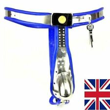 Male Fully Adjustable Model-T Stainless Steel Premium Chastity Device, blue