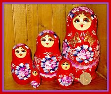 Russian hand painted nesting doll 5 RED MATRYOSHKA Gold Butterfly NIKITINA GIFT