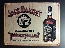 Jack Daniels Old No 7 Tennessee Hollow TIN SIGN Vtg Bottle  Bar Wall Decor